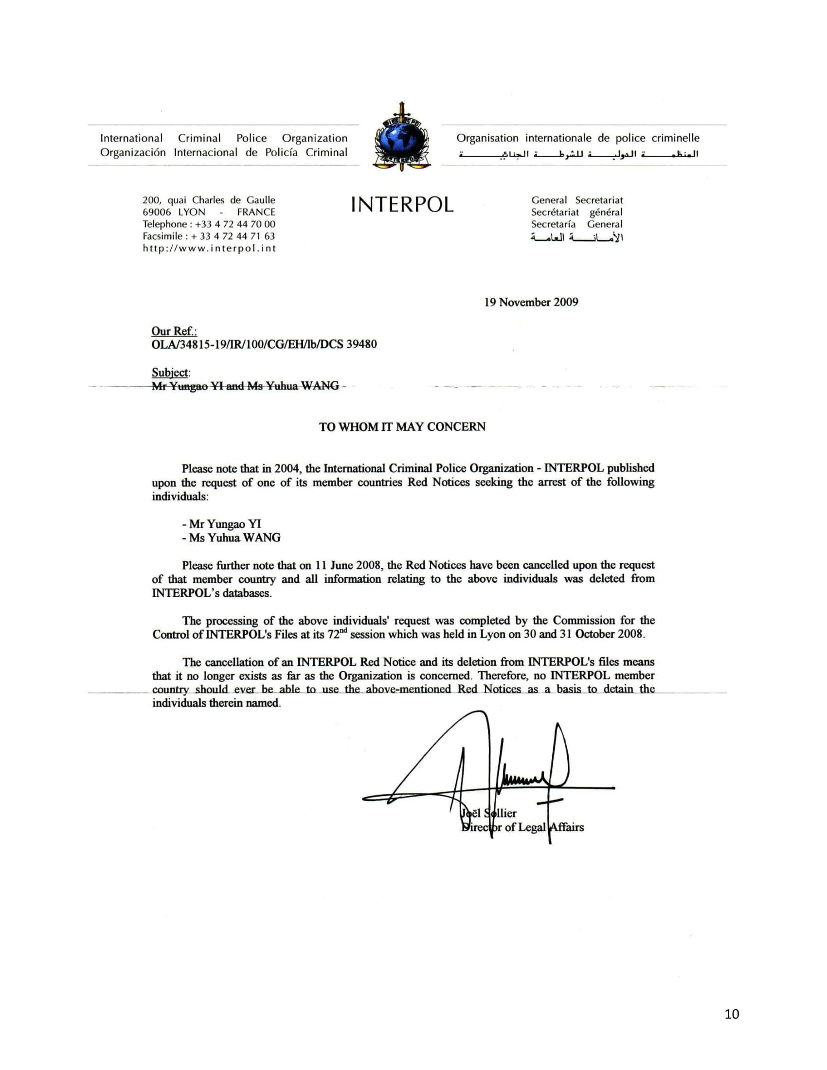 letter from INTERPOL