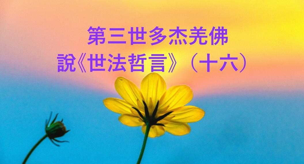 第三世多杰羌佛 說《世法哲言》(十六)
