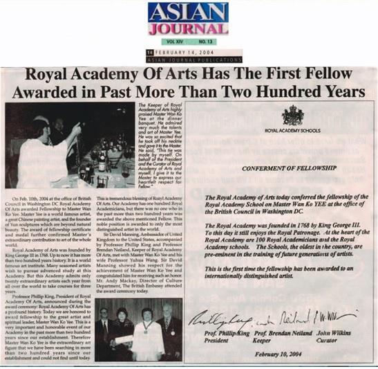 British Council in Washington DC Royal Academy Of Arts awarded Fellowship to Master Wan Ko Yee